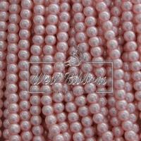 Жемчуг на леске 6 мм СТЕКЛО, бледно-розовый