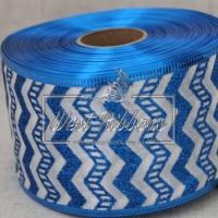 """Лента новогодняя 6.3 см """"Шеврон"""" , синий на белом"""