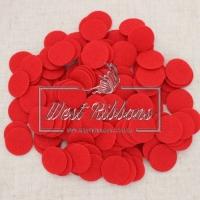 Фетровые кружочки  2.5 см красные (маленькие)