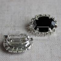 Брошь граненая, черная (серебро)