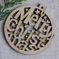 Деревянные украшения , шарик Merry Christmas № 35