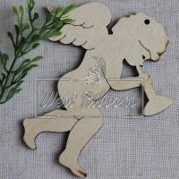 Деревянные украшения , ангелочек с дудочкой № 18