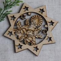 Деревянные украшения , звездочка +свечка № 70
