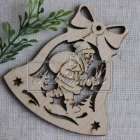 Деревянные украшения , Колокольчик+ дед мороз № 24