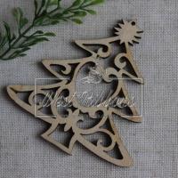 Деревянные украшения , ёлочка+ сердечко № 31
