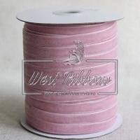 Лента велюр -мягкая 1 см, розово-пудровая