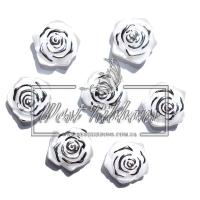 С-ка ТВ роза 2 см  перамутр, бело-серебристая