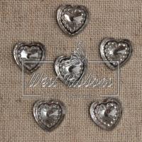 С-ка сердце огранка  14 мм , серебро-1шт.
