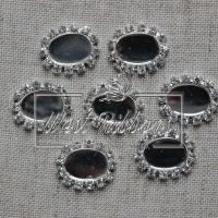 Серединка  со стразами овальная (метал)