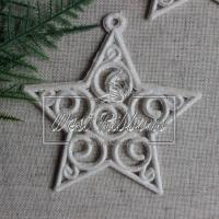 Звездочка новогодняя 9 см белая -паутинка УПАКОВКА