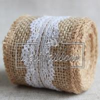 Мешковина 5 см с кружевом, волна