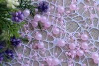 Бусины на леске 3-8 мм , светло-розовые