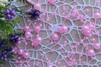 Бусины на леске 3-8 мм , ярко- розовые