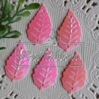 Пайетки листики, ярко-розовые