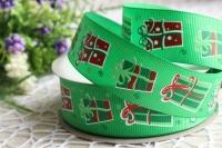 Репс 2.5 см , подарочки на зелёном