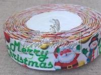 """Репс 2.5 см """" Merry Cristmas"""" , на белом (New Year)"""