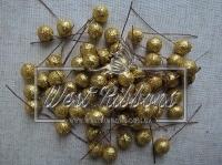 Шарики на проволоке с глитером,  золото
