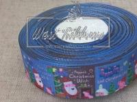 Репс 2.5 см Peppa's Christmas Wish, на синем