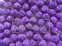 Помпоны с люрексом, фиолетовые ( 10 шт.)