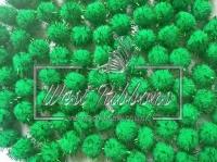 Помпоны с люрексом, зелёные ( 10 шт.)