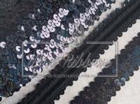 Повязка-пайетка 3 см, черная-(перламутр)