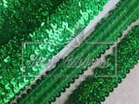 Повязка-пайетка 3 см, зелёная-(перламутр)