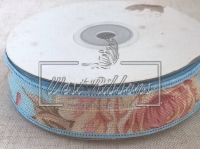 Лента льняная 2.5 см , голубой кант NEW