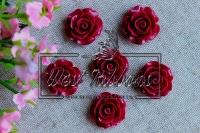Серединка-роза 2см ,бордовая