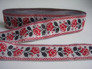 Лента в украинском стиле ,4 см,(красная )