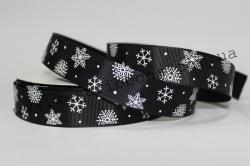 Репс 2.5см снежинка на черном.