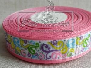 Репс 2.5 см , цветные завитушки с розовым кантом ^