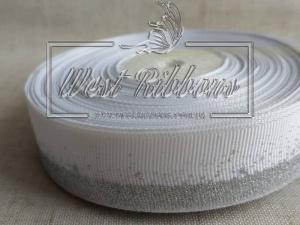 "Репс 2.5 см ""Глиттерный кант"", белый (серебро) РУЛОН"