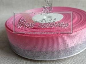 """Репс 2.5 см """"Глиттерный кант"""", розовый (серебро)"""