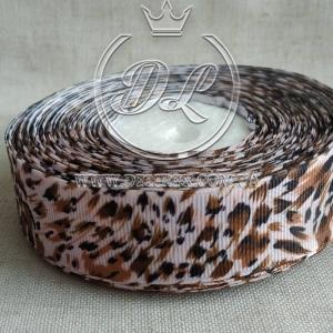 Репс 2.5 см Леопард на светло- розовом