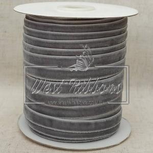 Лента велюр -мягкая 1 см, серая