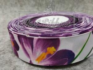 Репс 2.5 см Весенний Принт, фиолетовый крокус на белом