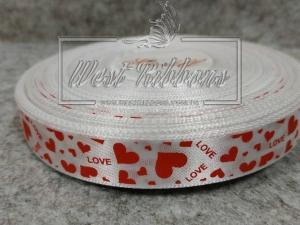 """Атлас 1.5 см """" Love сердечка"""", красные на белом"""