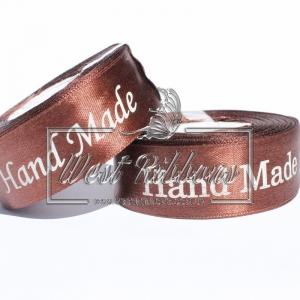Атлас 2.5 см Hand Made, коричневый