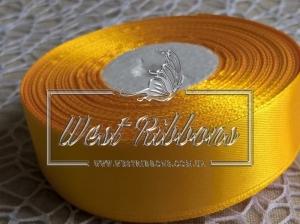Атлас 2.5 см темно-желтый 112  -РУЛОН