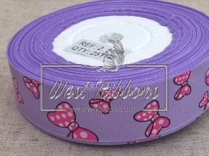 """Репс 2.5 см """" Бантик"""", на фиолетовом"""