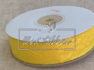 Атлас + кружево 2.5 см , желтое