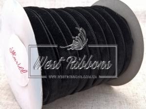 Лента велюр -мягкая 0.8 см, черная(мини)