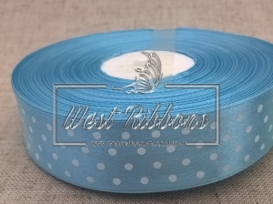 Атлас в Горох 2.5 см, голубой