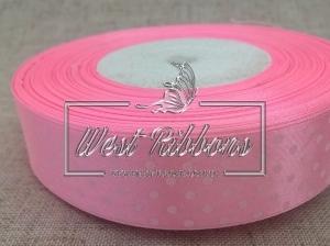 Атлас в Горох  4 см, светло-розовый РУЛОН
