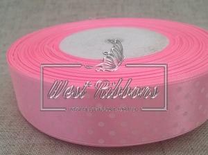 Атлас в Горох 2.5 см, светло -розовый