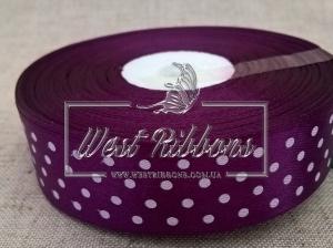 Атлас в Горох 2.5 см,  темно-фиолетовый