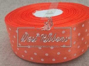 Атлас в Горох  4 см, оранжевый РУЛОН