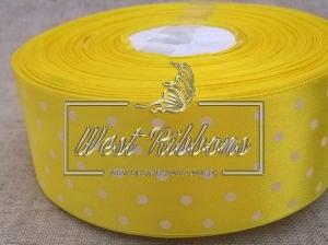 Атлас в Горох  4 см, желтый