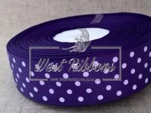 Репс в Горох  1 см, темно-фиолетовый 035 РУЛОН