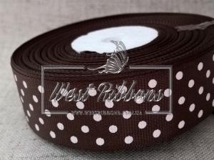 Репс в Горох 1 см, темно-коричневый 136 РУЛОН